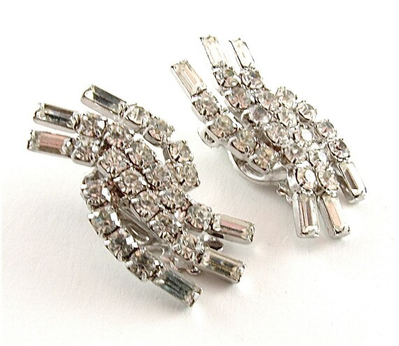 Rhinestone Flame Earrings Vintage Sparkle Bridal Jewelry Glamour Weddomg Fashion Clip On Earrings