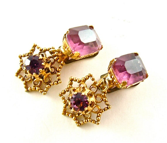 Dangle Earrings Vintage Rhinestone Jewelry Amethyst Purple Victorian Filigree Costume Jewelry Clip On Earrings (Free Shipping USA)