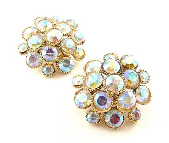 Vintage Rhinestone Earrings 60s Jewelry Aurora Borealis Iridescent Bubble Cluster Costume Jewelry, FREE Domestic Shipping