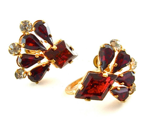 Czech Art Deco Earrings Vintage Rhinestone Jewelry Ruby Red Glass Signed Czechoslov, FREE Domestic Shipping
