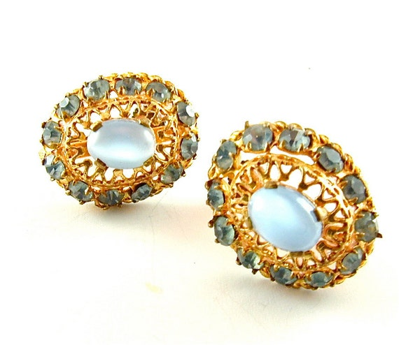 Pastel Blue Earrings Vintage Rhinestone Jewelry Sky Blue Moonstone Lace Filigree Sustainable Fashion Earrings (Free Shipping USA)