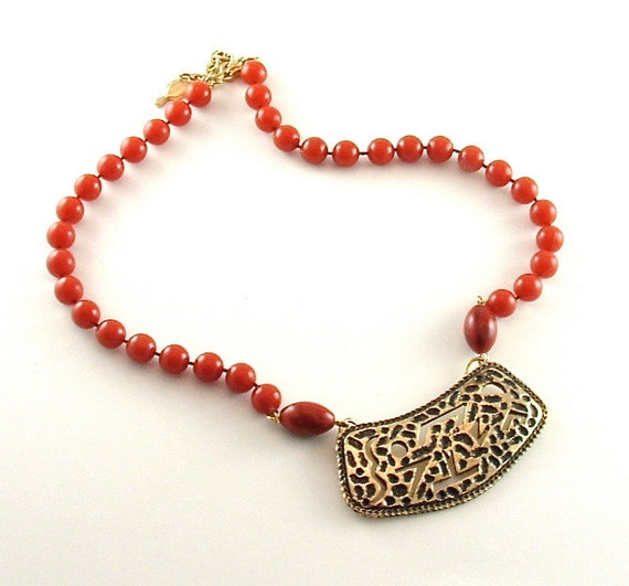 COVENTRY Beaded Necklace Vintage Jewelry Tribal Pendant Signed Sarah Cov (Free Shipping USA)