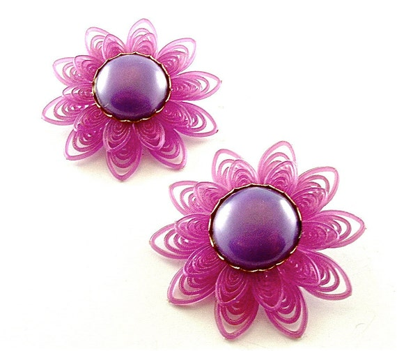 Purple Celluloid Earrings Vintage Pin Up Jewelry Filigree Lace Sunburst Amethyst Violet Flower Clip Earrings (Free Shipping USA)