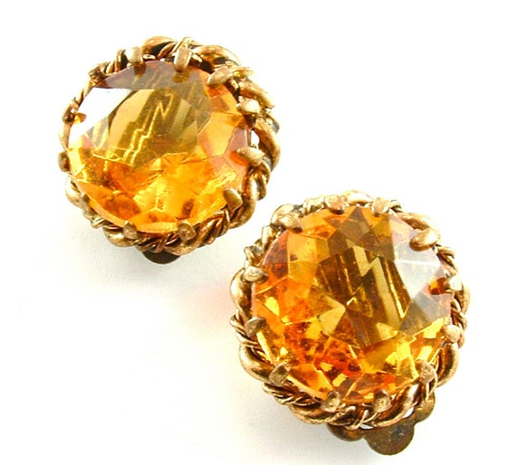 Clip On Earrings Vintage Jewelry Amber Faceted Glass (Free Shipping USA)