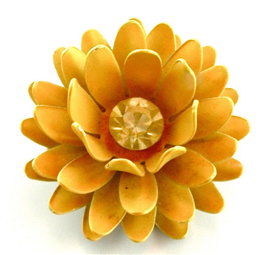 SALE Lotus Flower Brooch Vintage Eco Fashion Jewelry Yellow Blossom with Rhinestone Center Costume Jewelry Pin, Free US Shipping