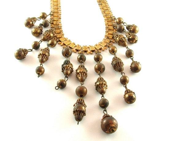 Vintage Fringe Necklace Beaded Statement Jewelry Dramatic Old World Charm Antique Bib Necklace (Free Shipping USA)
