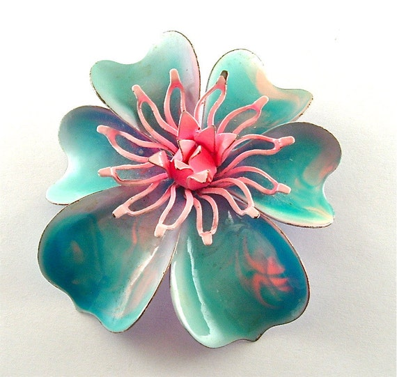 Sale Exotic Flower Brooch Vintage Enamel Jewelry Turquoise