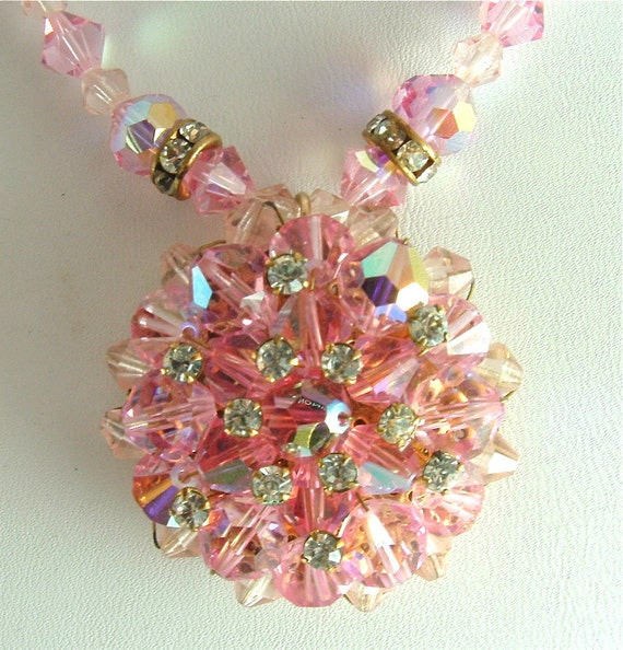 Vintage Glass Beaded Necklace Pink Glamour Jewelry Aurora Borealis Rhinestone Necklace (Free Shipping USA)