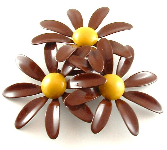 SALE Vintage Enamel Flower Brooch, Earth Brown Honey Mustard Yellow Large Pin (Free Shipping USA)