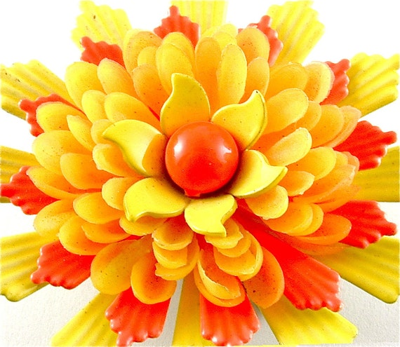 Vintage Flower Brooch Costume Jewelry Bright Yellow Orange Lotus Floral Pin (Free Shipping USA)