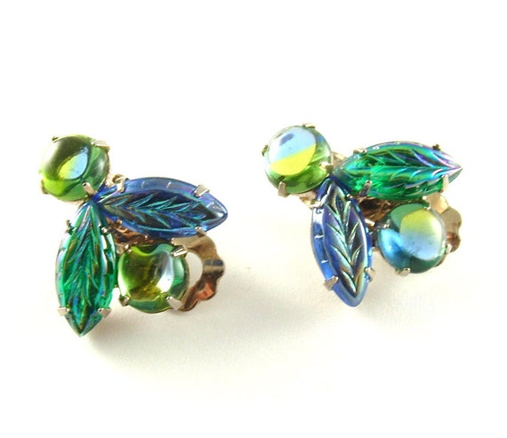 Vintage Botanical Earrings Costume Jewelry Molded Glass Green Blue Clip On Earrings (Free Shipping USA)