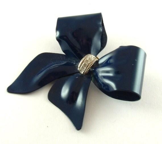 Vintage Bow Brooch Costume Jewelry Navy Blue Rhinestone Jewelry Pin (Free Shipping USA)