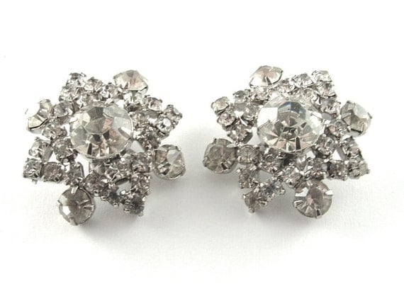 Vintage Rhinestone Earrings 1960s Jewelry Floral Starburst Burlesque Formal Bridal Jewelry Clip Earrings (Free Shipping USA)