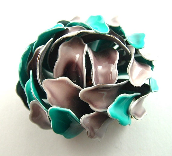 Vintage Brooch Enamel Flower Bud Brooch Jewelry Turquoise Teal and Gray Fashion Pin (Free Shipping USA)