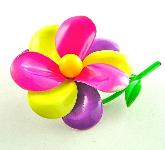 60s Vintage Neon Flower Brooch Hot Pink Neon Yellow Bright Purple Floral Womens Jewelry, Free Domestic Shipping