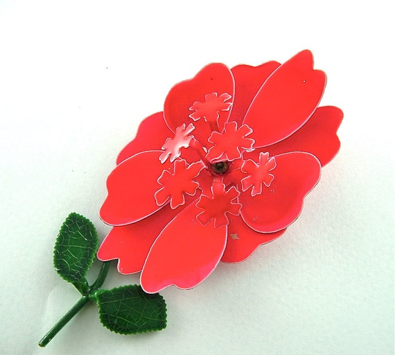 Bright Vintage Flower Brooch Red Red Red Jewelry Plastic and Metal Floral Pin, FREE Domestic Shipping