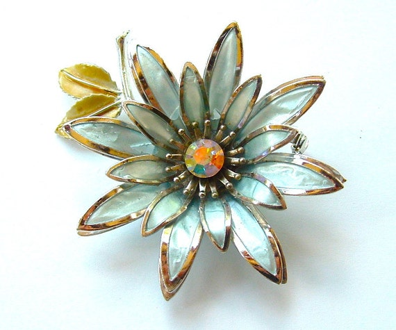 CORO Vintage Designer Enamel Flower Brooch Bridal Wedding Jewelry Brooch Bouquet Luminous Pastel Blue Floral Pin, FREE Domestic Shipping