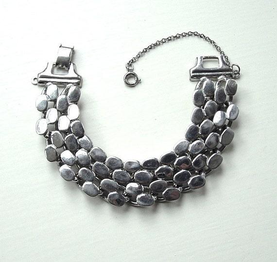 Vintage Bracelet Reptile Chain Link Silver Tone Metallic Costume Jewelry Bracelet, FREE Domestic Shipping