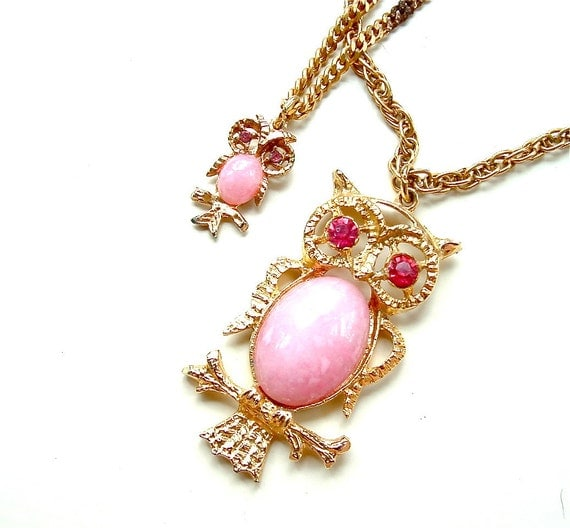 Vintage Owl Necklace Multi Strand Pink Rhinestone Double Bird Necklace, FREE Domestic Shipping