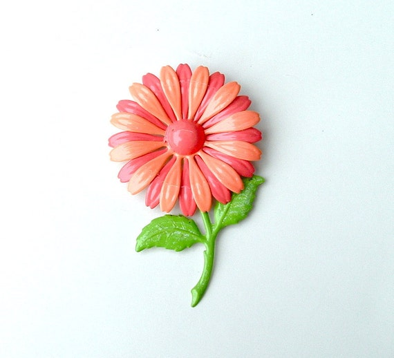 SALE Vintage Flower Brooch Garden Party Fashion Jewelry Pink Melon Daisy Pin, Free US Shipping
