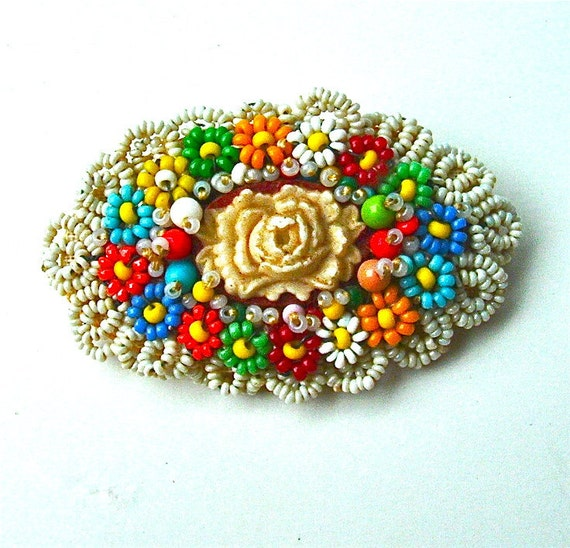 Vintage Beaded Brooch Handmade Jewelry Colorful Flower Seed Bead Floral Pin, Free Domestic Shipping