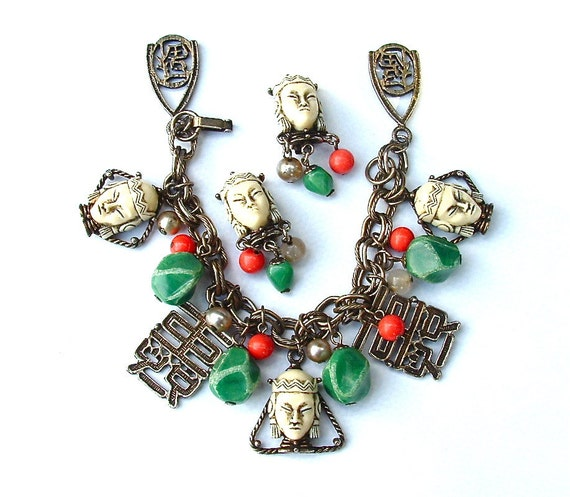 SELRO SELINI Asian Princess Designer Vintage Exotic Charms 1950 Bracelet Earrings Collector Jewelry Set, Free US SHiPPING