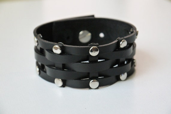 Black Leather Cuff Leather Bracelet Woven and Stud