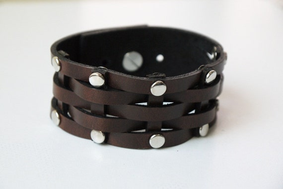 Woven and Revet Brown Leather Cuff Bracelet