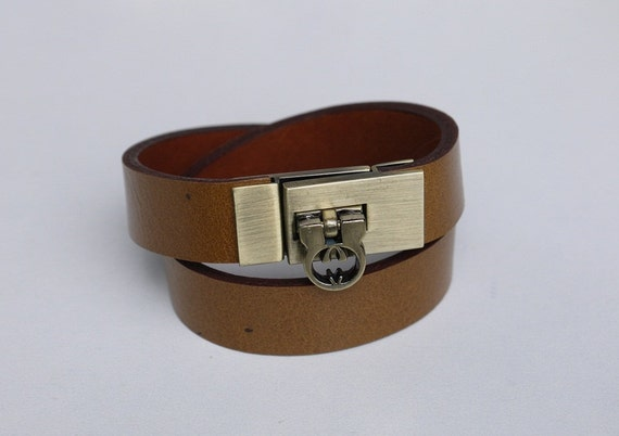 Tan Leather Bracelet Wrap bracelet Leather Cuff with Antique Brass Tone Metal Clasp