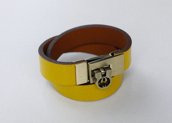 Yellow Wrap Leather Bracelet Leather Cuff  with Antique Brass Tone Metal Clasp