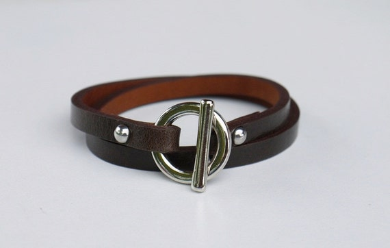 Leather Wrap Bracelet Dark Brown Color with Silver Tone Metal Toggle Clasp