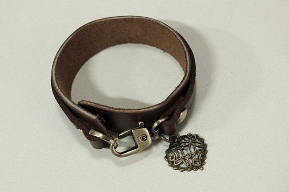 Brown Leather Bracelet Leather Cuff with Metal Heart Charm