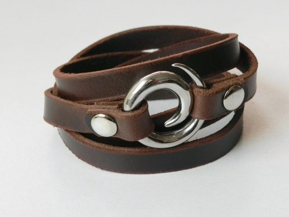 Leather Bracelet Leather Cuff Wrap Bracelet Brown Color with Stainless Swirl Clasp