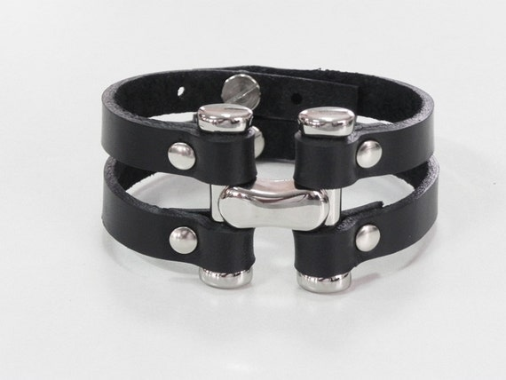 Big H Metal Link Black Double Strands Leather Cuff Leather Bracelet