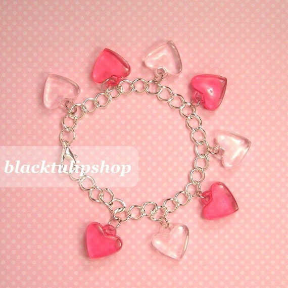 Decora Kei/Fairy Kei/Sweet Lolita Red And White Hearts Clear Candy Looking Charm Bracelet