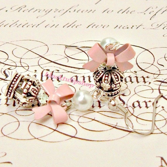 Sweet Lolita Earrings Princess Pink Bow Crown Pearl