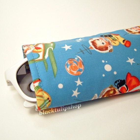 Soft Retro Blue Sunglasses Eyeglass Case Holder Sci-fi Space Rocket Kids