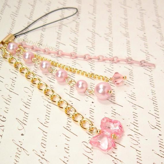 Sweet Lolita Cell Phone Charm Zipper Pull Hime Gyaru Pink Bow Pearls Chain