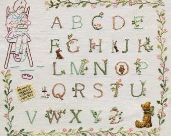 First Stitches: Rosie & Bear Alphabet Sampler Hand Embroidery Pattern