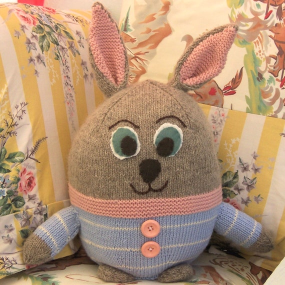 Knitting Pattern Rabbit Ears : Items similar to bunny floppy ears rabbit toy knitting