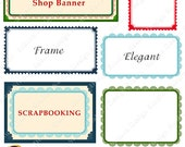 Laces And Stamps Digital Scrapbook Paper Tags, Frame, Labels Digital 6 Clipart Elements