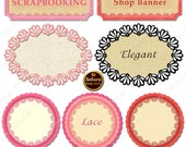Light Pink Laces Digital Scrapbook Paper Tags, Frame 7 Clipart