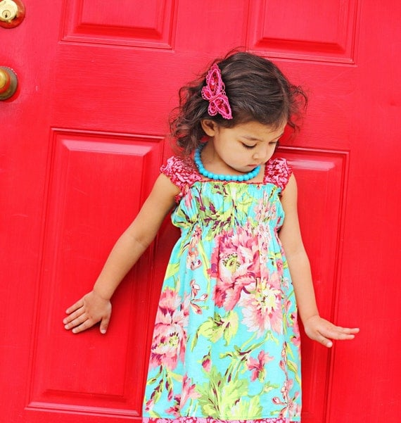 MADE TO ORDER--Bliss Bouquet Meadow Dress--Avail. in sizes 12-18mos, 2T, 3T, 4T, 5T, 6T, 7/8, 9/10, 11/12