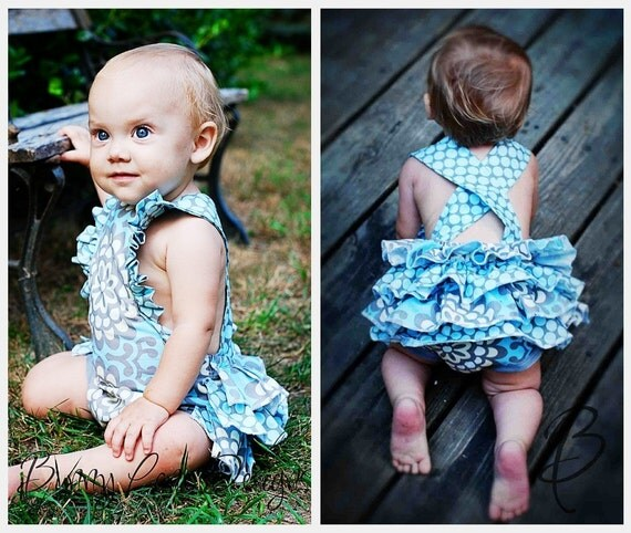 Made To Order-Retro Modern Ruffle Romper, Available in sizes 6-12mos, 12-18mos, 18-24mos, 2T, 3T, 4T, 5T