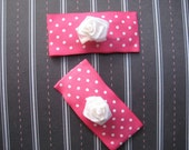 Pink and White Polka Dot Snap Clip Pair with White Rosebud