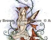 LAST ONES Fox Fairy 8.5x11  PRINT by Amy Brown Wild Companions