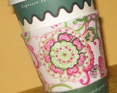 Cup Cozie - Half-Off Shipping -  Hot Pink and Green Flowers