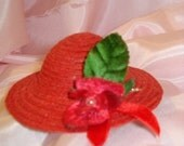 Ginny or Similar Doll Hat Millinery Straw Red BEAUTIFUL