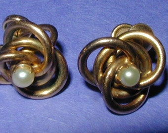 Vintage Gold Filled and Genuine Pearl Love Knot Earrings