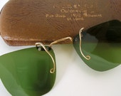 Vintage Green Plastic Clip On Sunglasses in Case